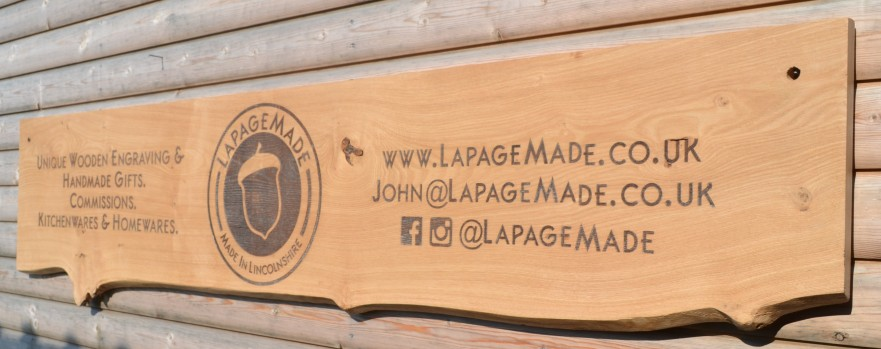 Extra Long Laser Engraved Branded Waney Edged Sign