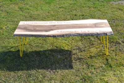 Extra Long Laser Engraved Branded Waney Edged Coffee Table in Walnut