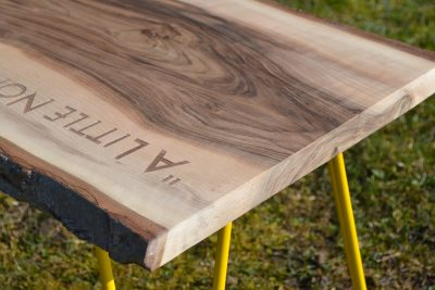 Laser Engraved Branded Waney Edged Coffee Table in Walnut