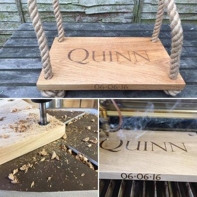 Personalised English Oak Engraved Rope & Wooden Swing