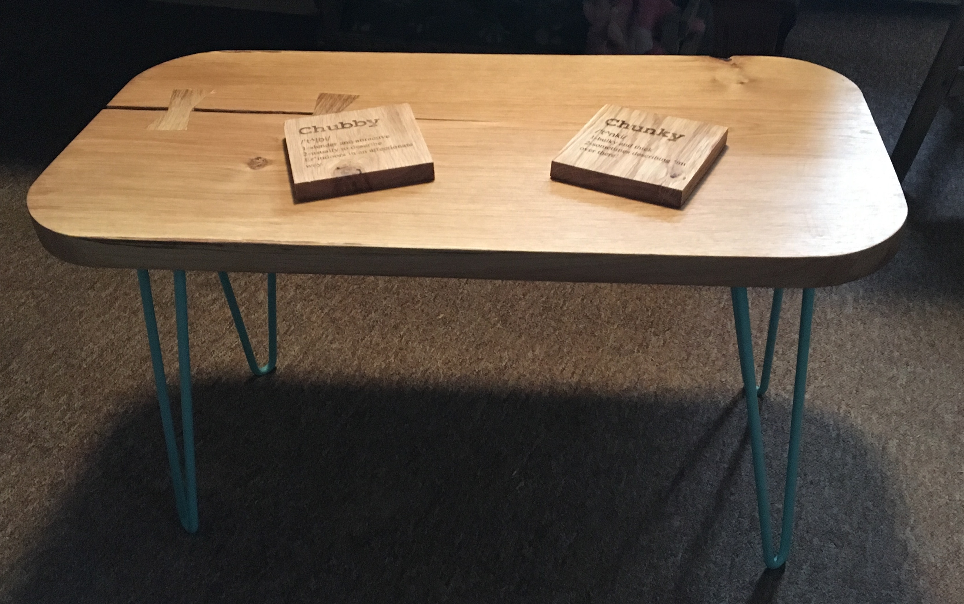 Engraved Coffee Table With Metal Hairpin Legs Lapagemade