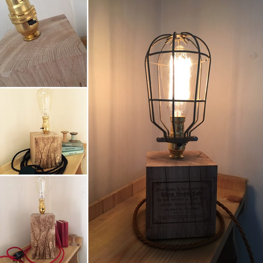 Engish Oak Edison BC Engraved Wood Lamp with Twist Flex and Vintage Fillament Bulb