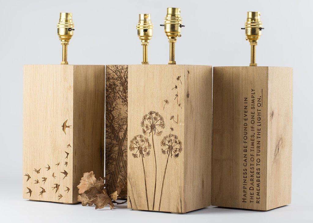 Large Engraved Solid English Oak Wooden Lamp Base.