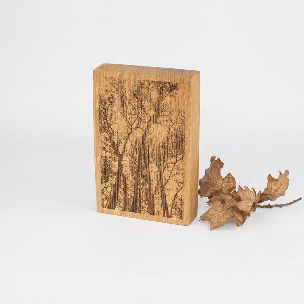 English Oak Woodland Scene Engraved Keepsake Decoration