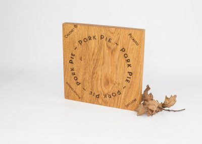 Solis English Oak Engraved Pork Pie Serving Board.