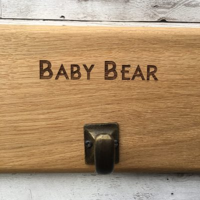 Laser Engraved Personalised Oak 4 Coat Hook Brass Effect