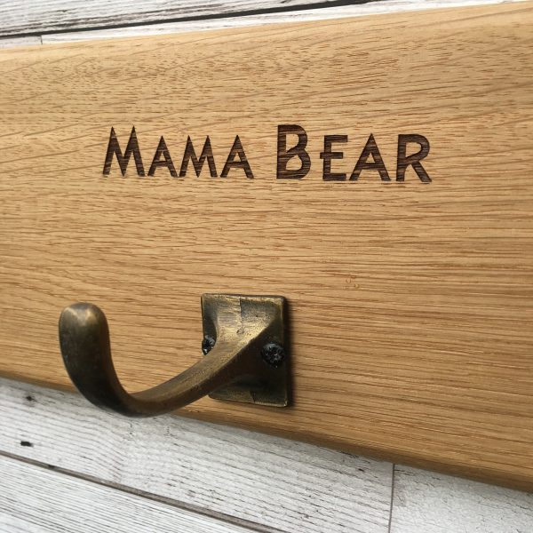 Laser Engraved Personalised Oak 4 Coat Hook Brass Effect