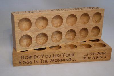 Twelve 12 Egg Holder Wooden Oak Engraved Personalised