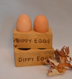 Oak Dippy Eggs Wooden Engraved Personalised Egg Holder Childrens Kids