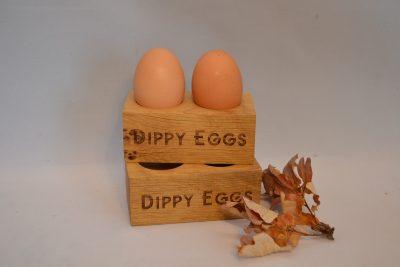 Oak Dippy Eggs Wooden Engraved Personalised Egg Holder Childrens Kids