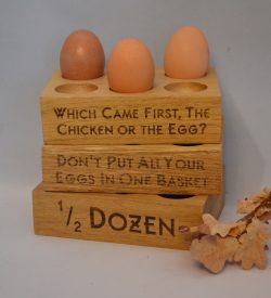 6 egg holder oak engraved personalised oak